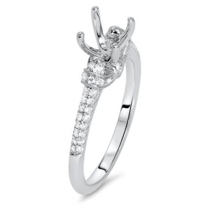 Milgrain Side Stone Engagement Ring for 1/2 ct Stone | AR14-157