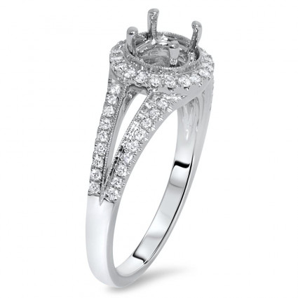 Round Halo Engagement Ring with Split Shank for 1.5 Carat Stone | AR14-170