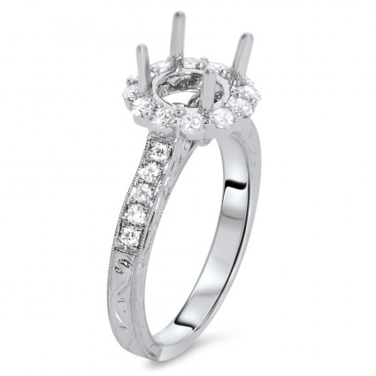 Round Halo Engagement Ring with Carved Design for 1 ct Stone | AR14-177