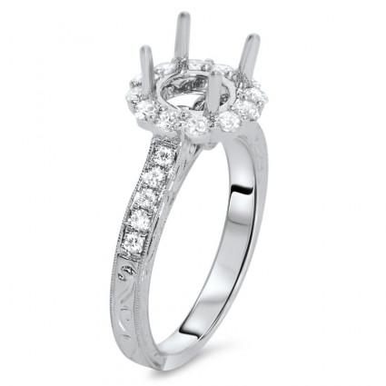 Round Halo Milgrain Engagement Ring for 2 ct Stone | AR14-152