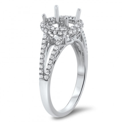 Round Halo Filigree Engagement Ring for 1 ct Center Stone | AR14-095