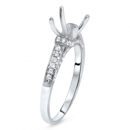 Cathedral Micro Pave Engagement Ring for 1 ct Center Stone | AR14-203