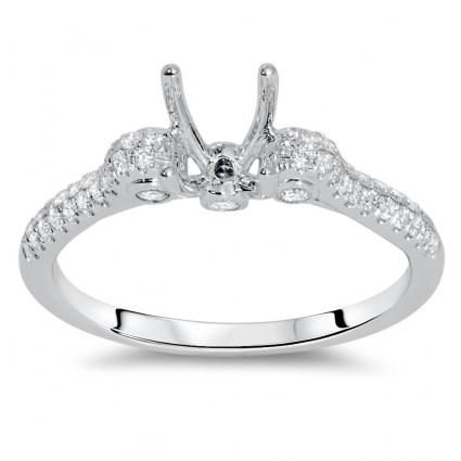 Micro Pave Engagement Ring with Side Stones for 1 Carat Stone | AR14-169