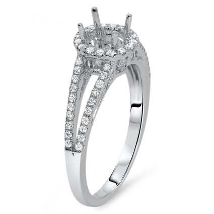 Round Halo Engagement Ring with Split Shank for 3/4ct Stone | AR14-197