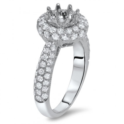 Round Halo Engagement Ring with Pave 82 for 1 ct Stone | AR14-168