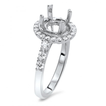 Round Halo Engagement Ring with 10 Micro Pave for 1 ct Stone | AR14-174