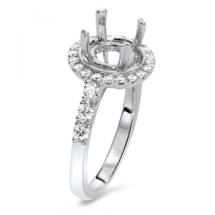Round Halo Engagement Ring for 1.50ct Center Stone 0.59ct