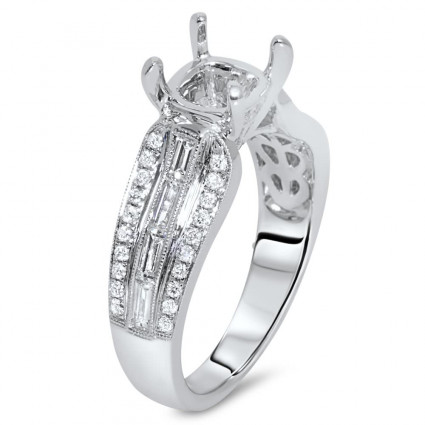 Three Row Side Stone Engagement Ring for 2 Carat Stone | AR14-161