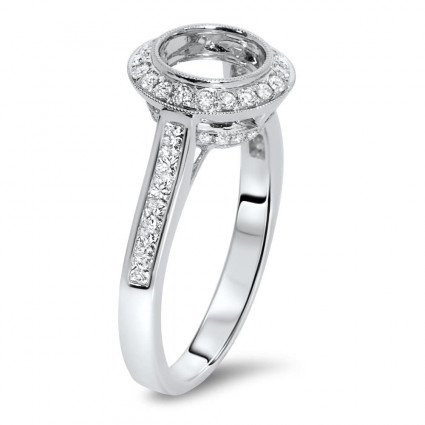 Round Halo Vintage Engagement Ring for 1.5 ct Stone   AR14-146
