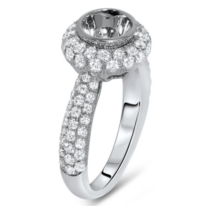 Round Halo Engagement Ring for 1.00ct Center Stone 1.27ct
