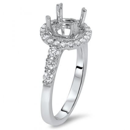 Round Halo Filigree Engagement Ring for 2 ct Stone | AR14-128