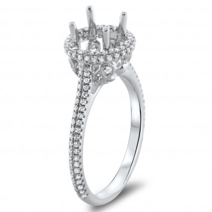 Round Halo Engagement Ring with Double Micro Pave for 1 Carat Stone | AR14-020