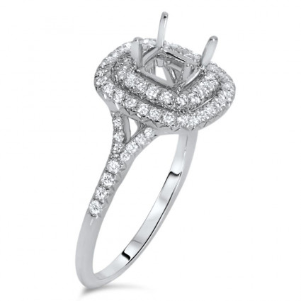 Double Halo Engagement Ring for 1 Carat Stone | AR14-116