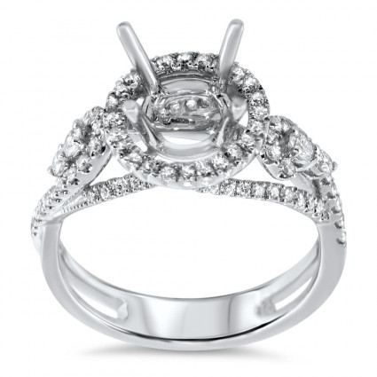 Round Halo Engagement Ring for 2 ct Center Stone | AR14-192