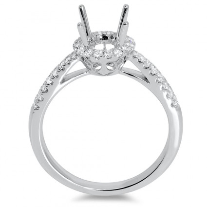 Round Halo Engagement Ring with Micro Pave 8 for 1ct Stone | AR14-131