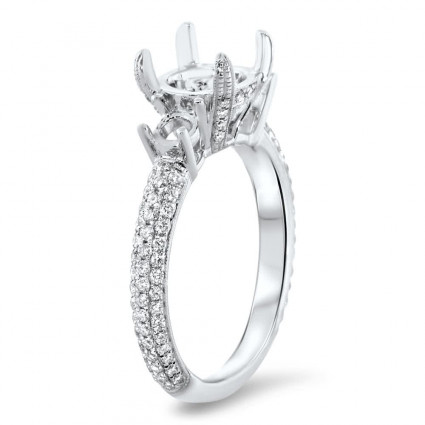 Three Stone Engagement Ring for 2 Carat Center Stone | AR14-109