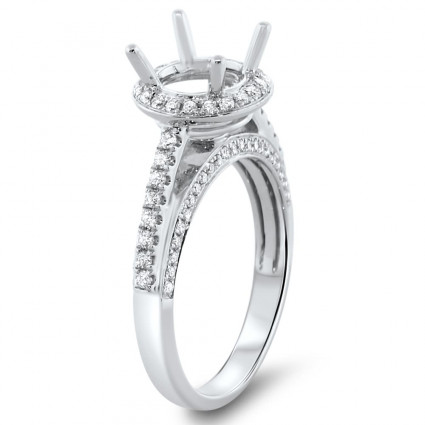 Round Halo Engagement Ring with Stones on 3 Side Stones for 1ct Stone | AR14-184