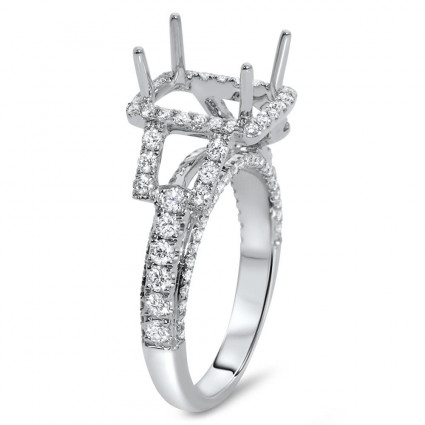 Rectangular Engagement Ring with Halo for 3 ct Stone | AR14-057