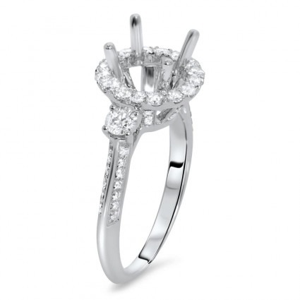 Round Halo 3 Stone Engagement Ring for 1.5 ct Center Stone   AR14-048