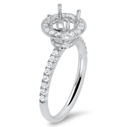 Round Halo MicroPave Engagement Ring for 1ct Stone | AR14-139