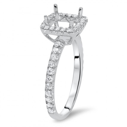 Square Halo Micro Pave Engagement Ring for 0.50ct Stone | AR14-221