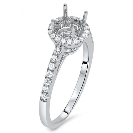 Round Halo Engagement Ring with Side Stones for 1ct Stone | AR14-137