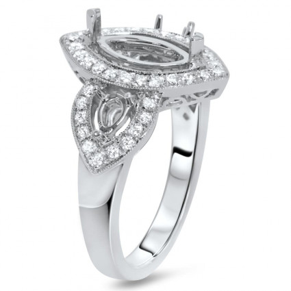 Past Present Future Marquise Halo Engagement Ring for 1ct Stone   AR14-173