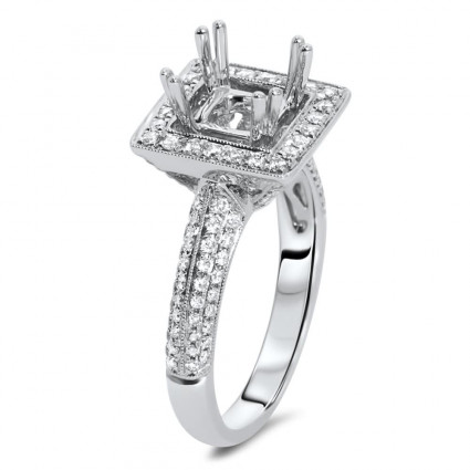Square Micro Pave Halo Engagement Ring for 2 ct Stone | AR14-231