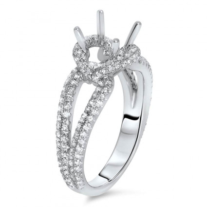 Round Halo Engagement Ring with Ronded Split Shank for 1.5ct Stone   AR14-204