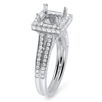 Square Halo Micro Pave Engagement Ring for 1ct Stone   AR14-183