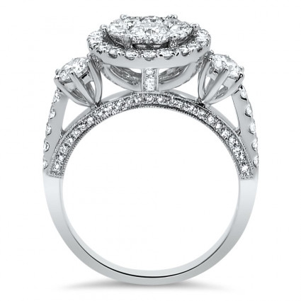Three Stone Illusion Halo Engagement Ring for 1ct Stone | AR14-003