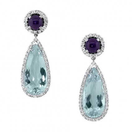 Aquamarine Amethyst Stone Earrings 13.17ct | AE14-008