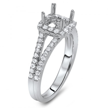 Square Halo Engagement Ring with Split Shank for 1ct Stone | AR14-036