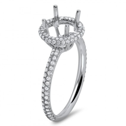 Round Halo Engagement Ring with Micro Pave for 1 ct Stone | AR14-224