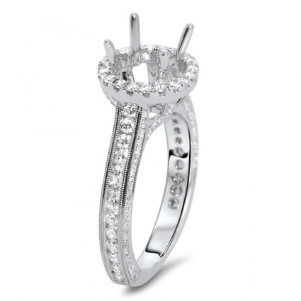 Round Halo Channel Set Engagement Ring for 2 ct Stone | AR14-185