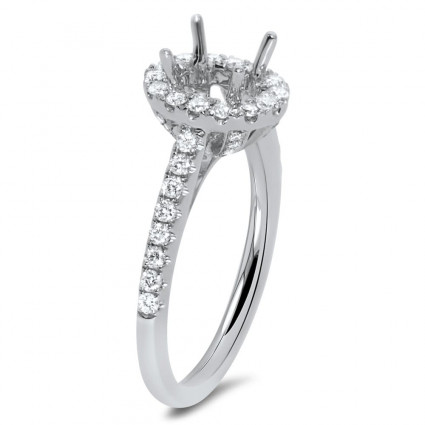 Oval Micro Pave Engagement Ring with Halo for 1.5 ct Stone | AR14-045