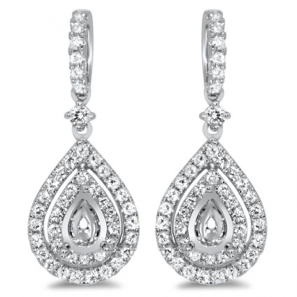 Pear Shape Halo Diamond Earrings for 0.5ct Stone | AE14-004