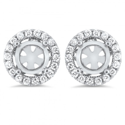 Round Halo Micro Pave Earrings for 1.5 Carat Stone | AE14-002