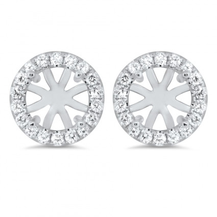 Round Micro Pave Halo Earrings for 1.5 ct Stone | AE14-001