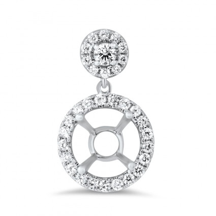 Micro Pave Drop Round Halo Diamond Pendant for 2ct Stone | AN14-006