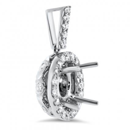 Round Micro Pave Halo Diamond Pendant for 1.5ct Stone | AN14-007