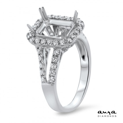 Rectangular Engagement Ring with Halo for 2.5 ct Stone | AR14-062