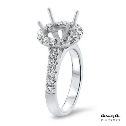 Round Halo Engagement Ring with Side Stones for 1.5 ct Stone | AR14-087