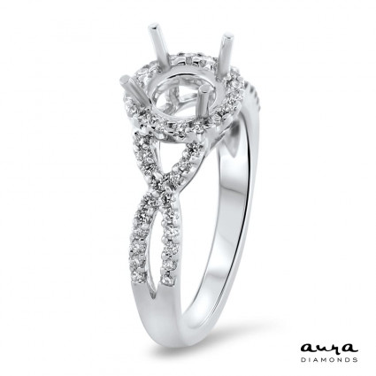 Round Halo Engagement Ring for 1.25ct Center Stone   AR14-079