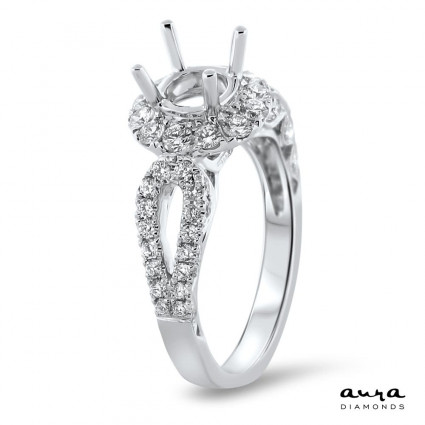 Round Halo Engagement Ring Rounded Split Shank for 1ct Stone | AR14-083