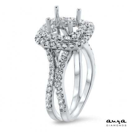 Double Halo Engagement Ring for 1.5 Carat Stone | AR14-082