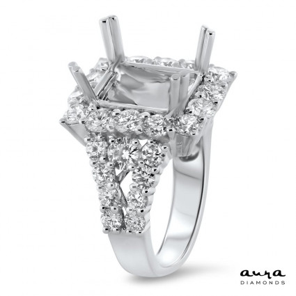 Rectangular Engagement Ring with Halo for 5 ct Stone | AR14-077