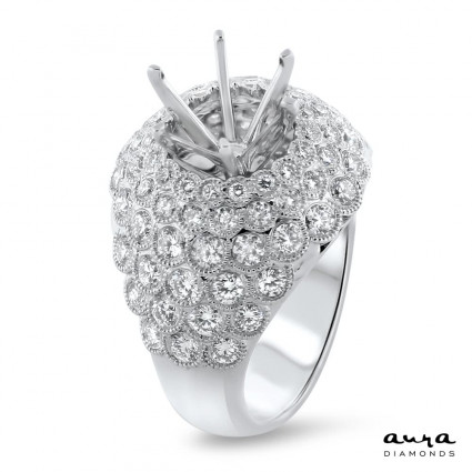 Illusion Pave Engagement Ring for 3 Carat Stone | AR14-080