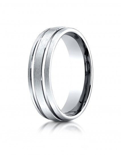 10k White Gold 6mm Comfort-Fit Satin-Finished with Parallel Grooves Carved Design Band