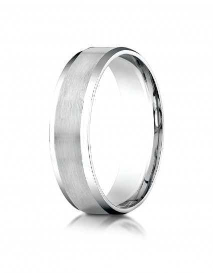 Comfort-Fit Satin-Finished with High Polished Beveled Edge Carved Design Band